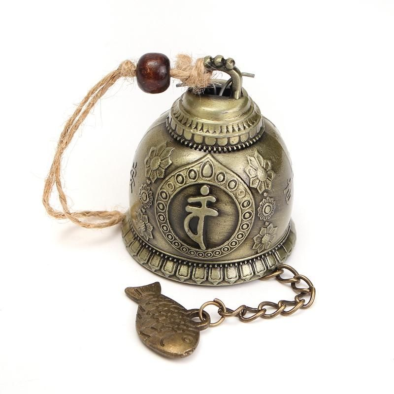 Dragon Carved Bronze Lock Buddhist Bell Good Luck China Geomantic Craft Decor