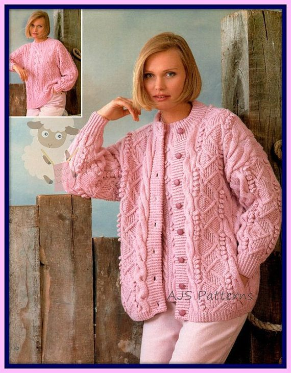 779598e751319f PDF Knitting Pattern for a Ladies Cardigan Knitted in Aran wool   Matching Sweater  Knitted in DK - Instant Download