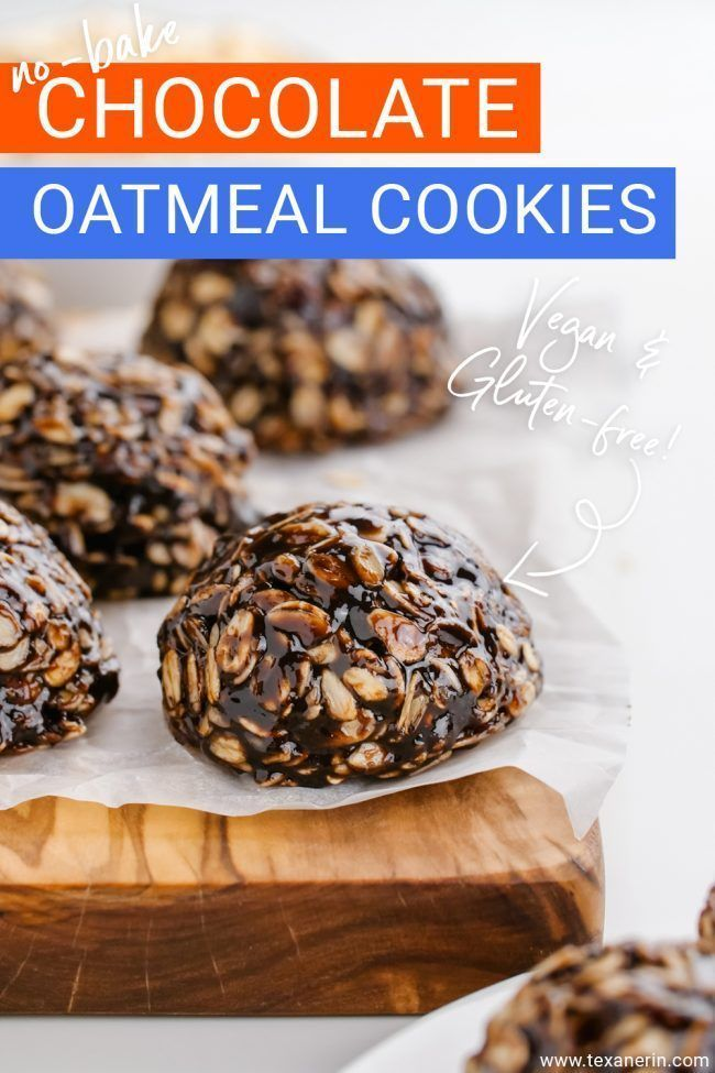 Looking for a healthy no-bake cookie? Look no further! These no-bake chocolate oatmeal cookies are wonderfully chewy, easy to make and are vegan, gluten-free and can be made nut-free, too. Come grab this recipe and try these delicious no-bake chocolate oatmeal cookies.