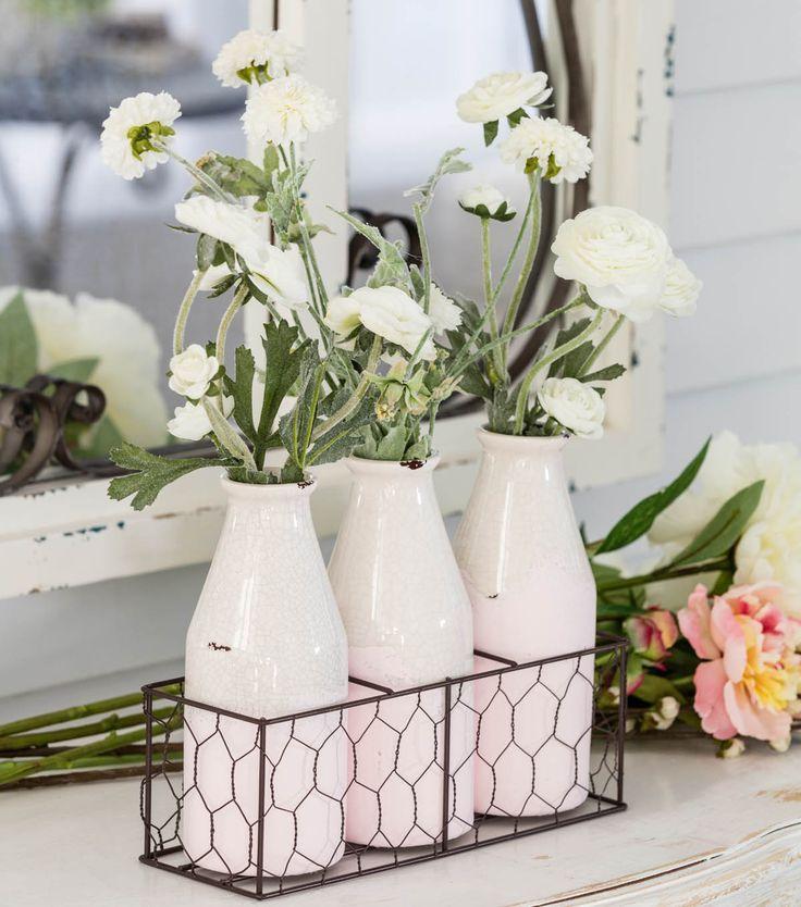 Create a beautiful floral arrangement for your Spring Decor!   Bloom Room Milk Jug Floral Arrangement   Flowers  Spring Flowers   Flower Decor   Floral Arrangement