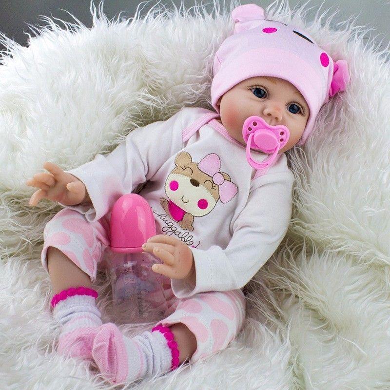 "22/"" Realistic Handmade Reborn Baby Doll Girl Newborn Lifelike Vinyl Silicone US"