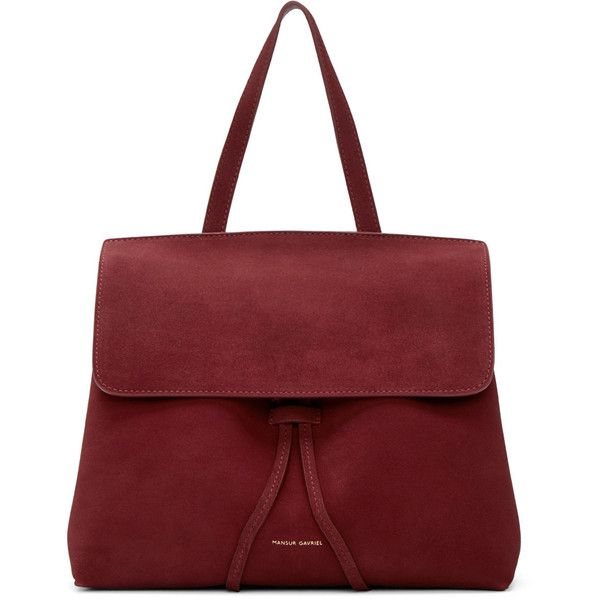 Mansur Gavriel Burgundy Suede Mini Lady Bag (8.850.940 IDR) ❤ liked on Polyvore featuring bags, handbags, shoulder bags, suede purse, suede shoulder bag, top handle handbags, red shoulder bag and burgundy handbags