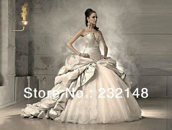 Shipping Free 2014 New Most Sexy Extravagant Ball Gown Wedding