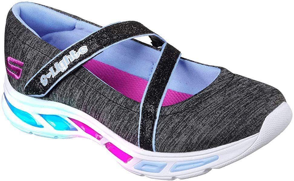 Skechers Kids Girls' Litebeams Spin N'SPARKLE Sneaker, black