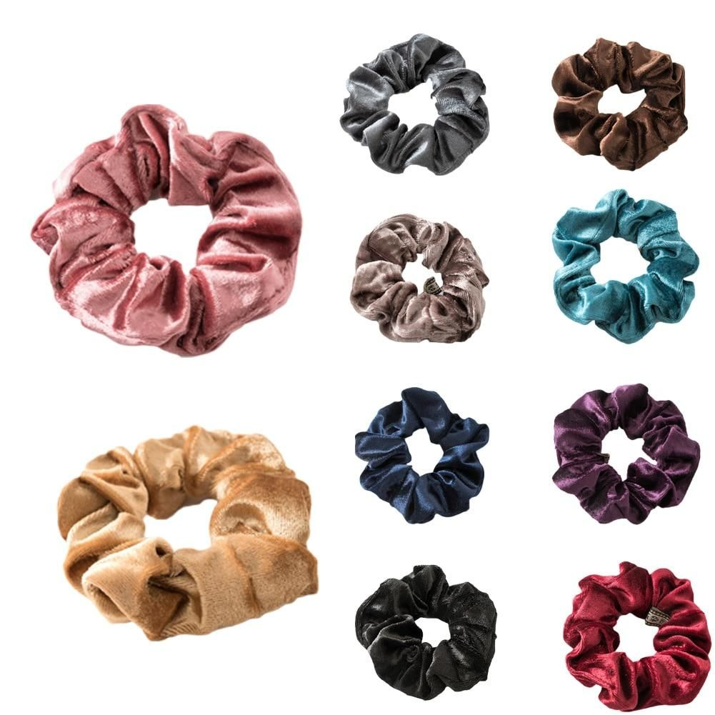 Fashion Solid Color Soft Cotton Hair Ring Scrunchie Elastic Ponytail Bands Ties