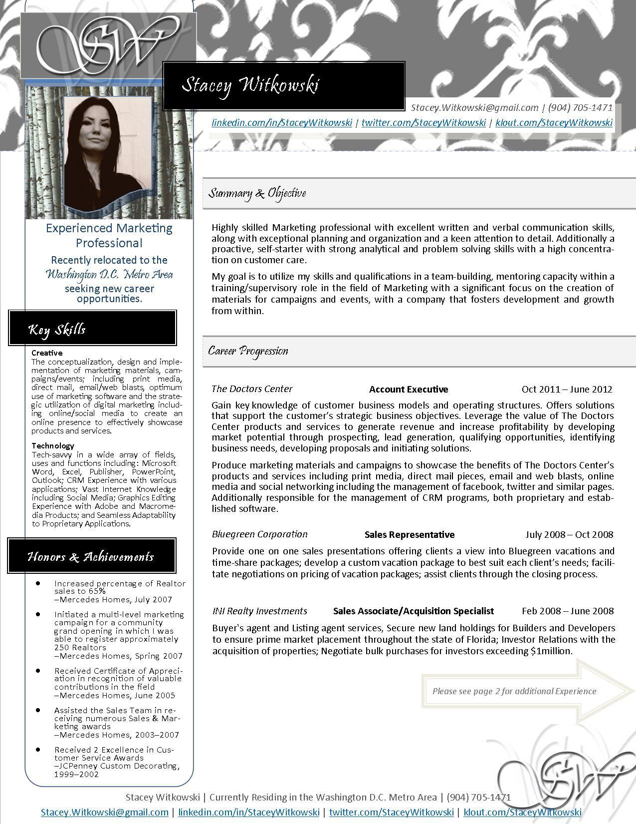 New Resume Design (PG1) Stacey Witkowski 2013 MyResume