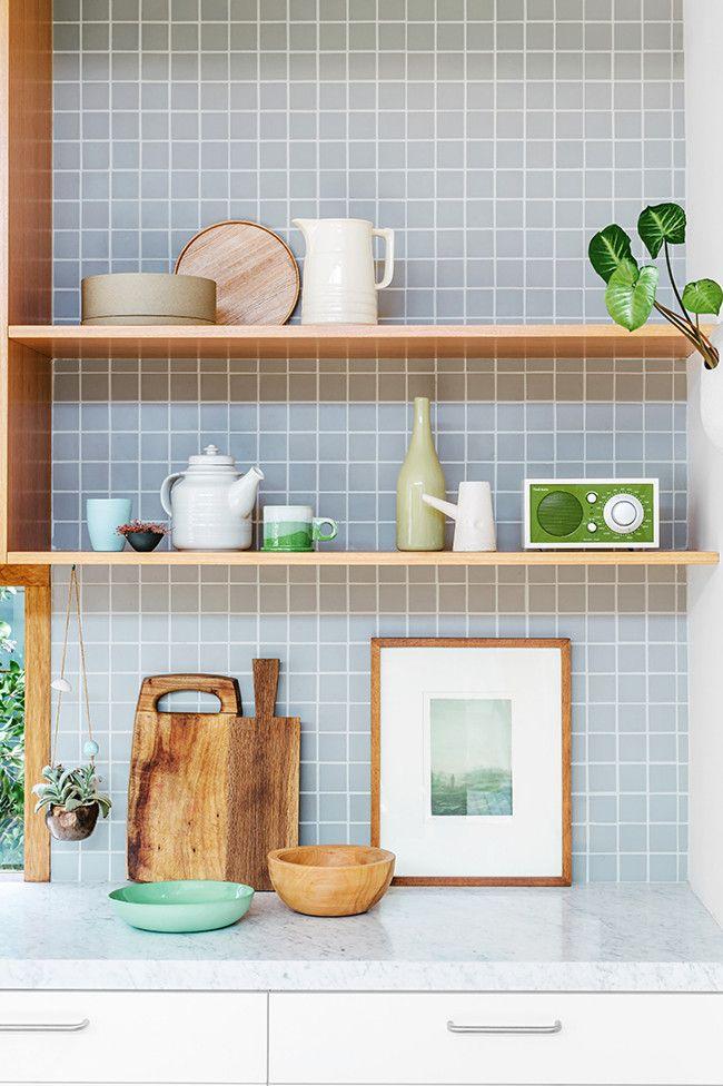 Küchenrückwand, holz, weiß, grau, Fliesen, Mosaik, 5x5 ...