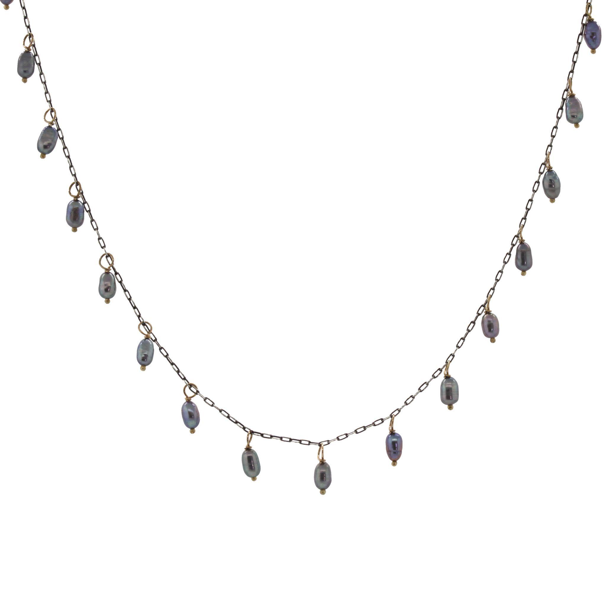 Biwa Pearl Dangle Necklace