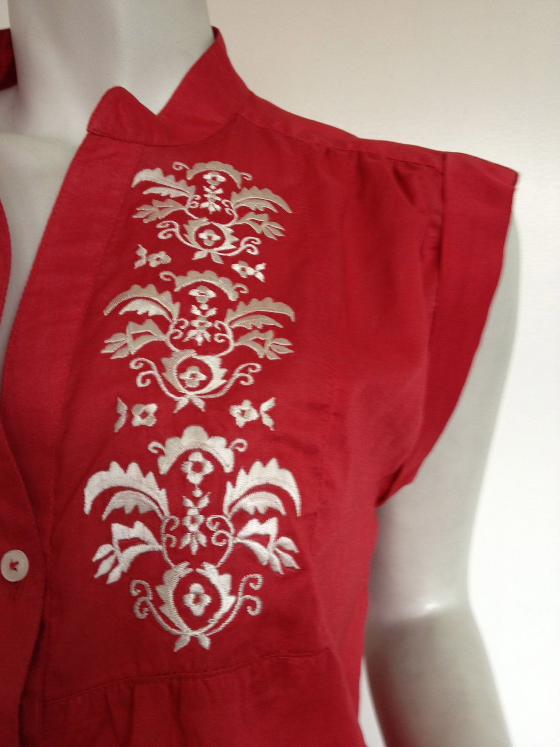 Embroidered Tunic Blouse Top, Boho, Casual, Loose Fit, Red Cotton Voile, Summer, Resort, Holiday. $46.00, via Etsy.