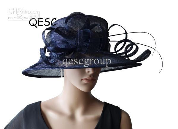 Discount Large Brim Navy Blue Dress Church Sinamay Hat with Ostrich Spine  for Kentucky Derby 21da3b2a17da