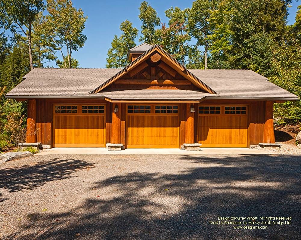 A Log Post And Beam Garage Because Log Garages Given The Amount Of Wall Length Can Consume A Disproportionate Amo Garage Design Log Home Designs Timber House