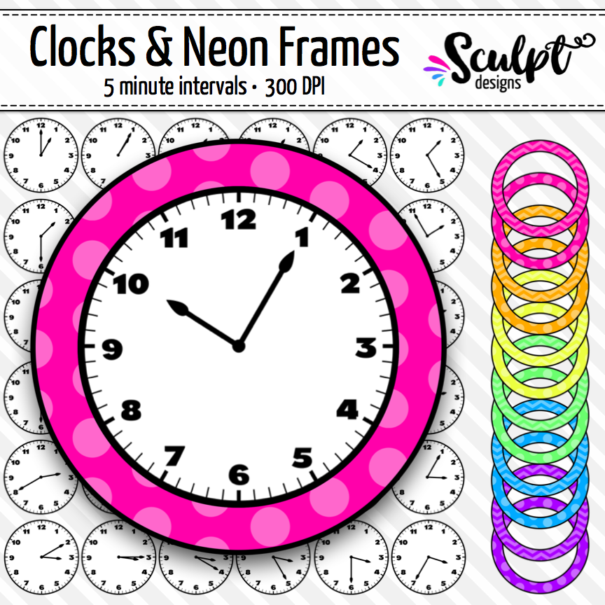 Clock Clip Art ~ Every 5 Minutes ~ With Neon Frames | Pinterest ...