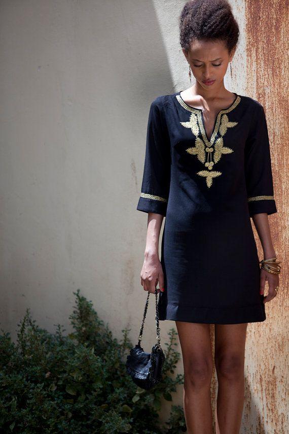 Short Kaftan Dress, Black Moroccan Caftan, Gold embroidery ...