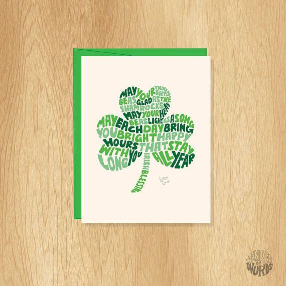 Hand Lettered Irish Shamrock Card, Blank Shamrock Card, Unique St. Patricks Day Card, March Card, Fun Spring Card, Irish Blessing Card