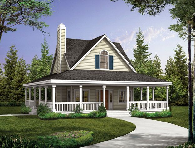 The covered porch wraps around the entire 2 bedroom country style home. Country House Plan # 741040.