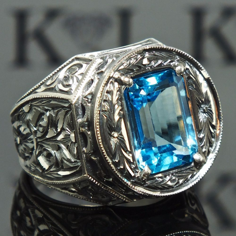 Ring Blue Topaz Sterling Silver unique handcrafted mens