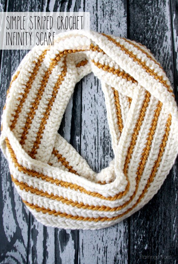 Cozy Striped Crochet Infinity Scarf - | Lana, Tejido y Varios