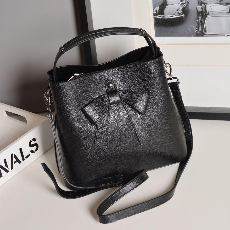 women handbag new genuine leather bow bucket bags Shoulder Messenger Bag  ladies purse work bag casual 8d7ea13cda645