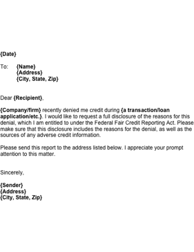 if you have been denied credit use this letter to request information on why the