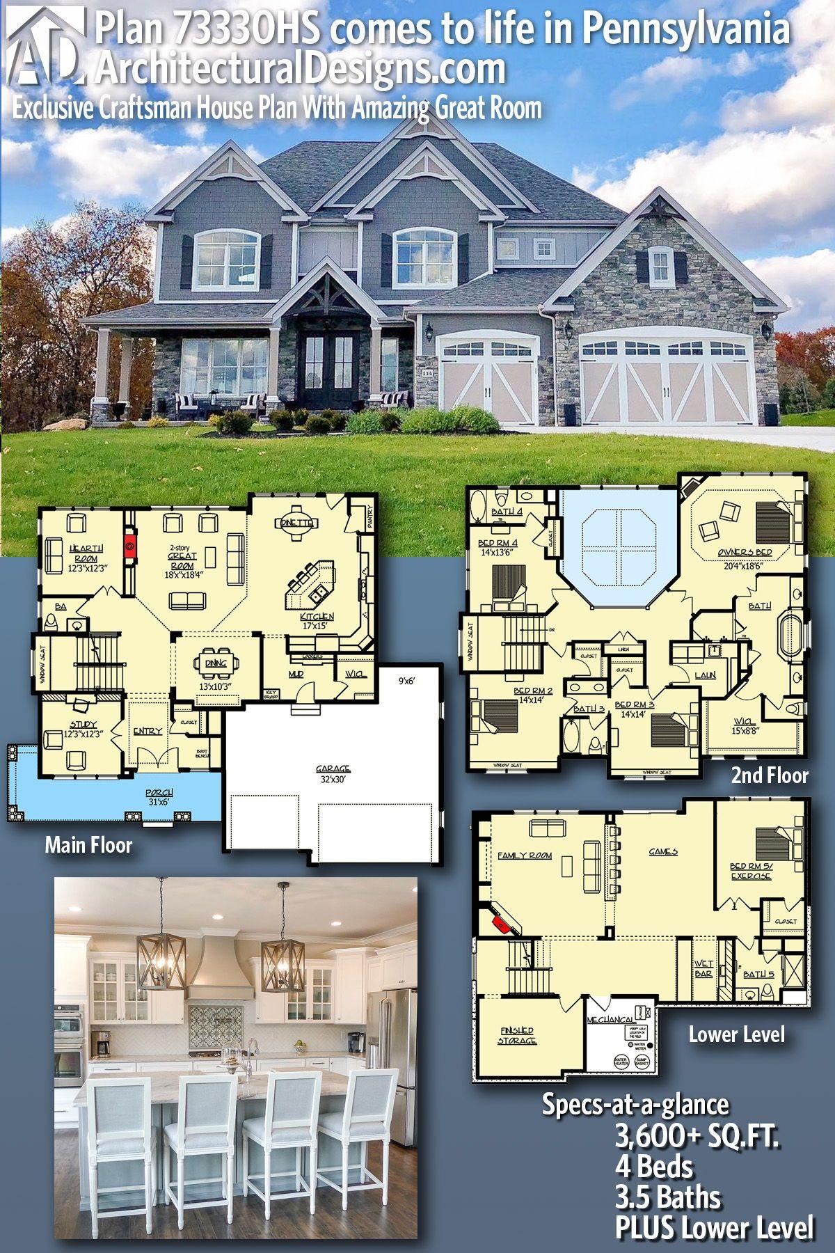 Plan 73330hs Exclusive Craftsman House Plan With Amazing Great Room Exclusive House Plan House Plans Craftsman House Plan