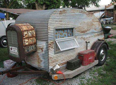 Vintage Bumper Pull Trailer With Corrugated Siding With A
