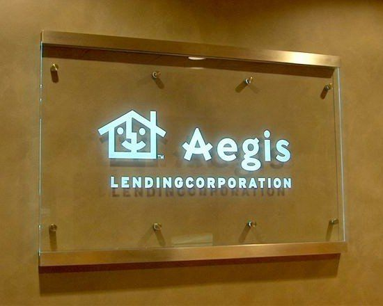 Glass Sign With Led Light Shooding In From The Top Edge