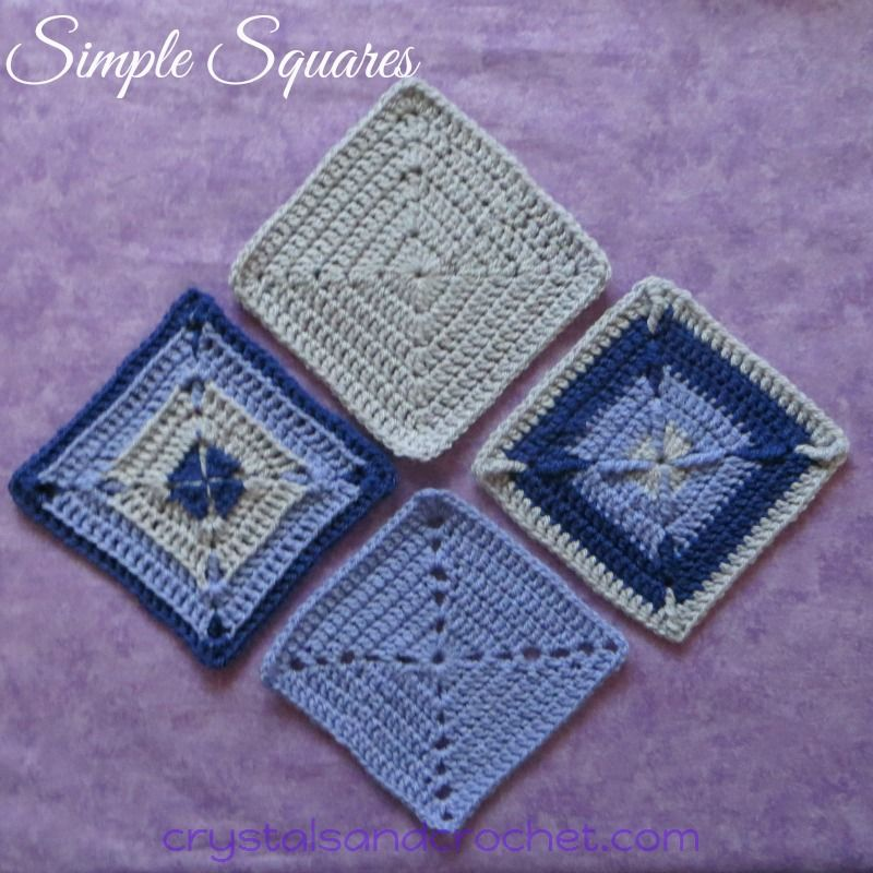 Simple Squares - 4 variations - free crochet patterns by Helen ...