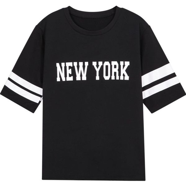 SheIn(sheinside) Black New York Print Short Sleeve T-Shirt ($7.99) ❤ liked on Polyvore featuring tops, t-shirts, shirts, remeras, black, round neck t shirt, summer shirts, black short sleeve shirt, black tee and print shirts