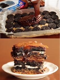 Oreo cookie brownie cake