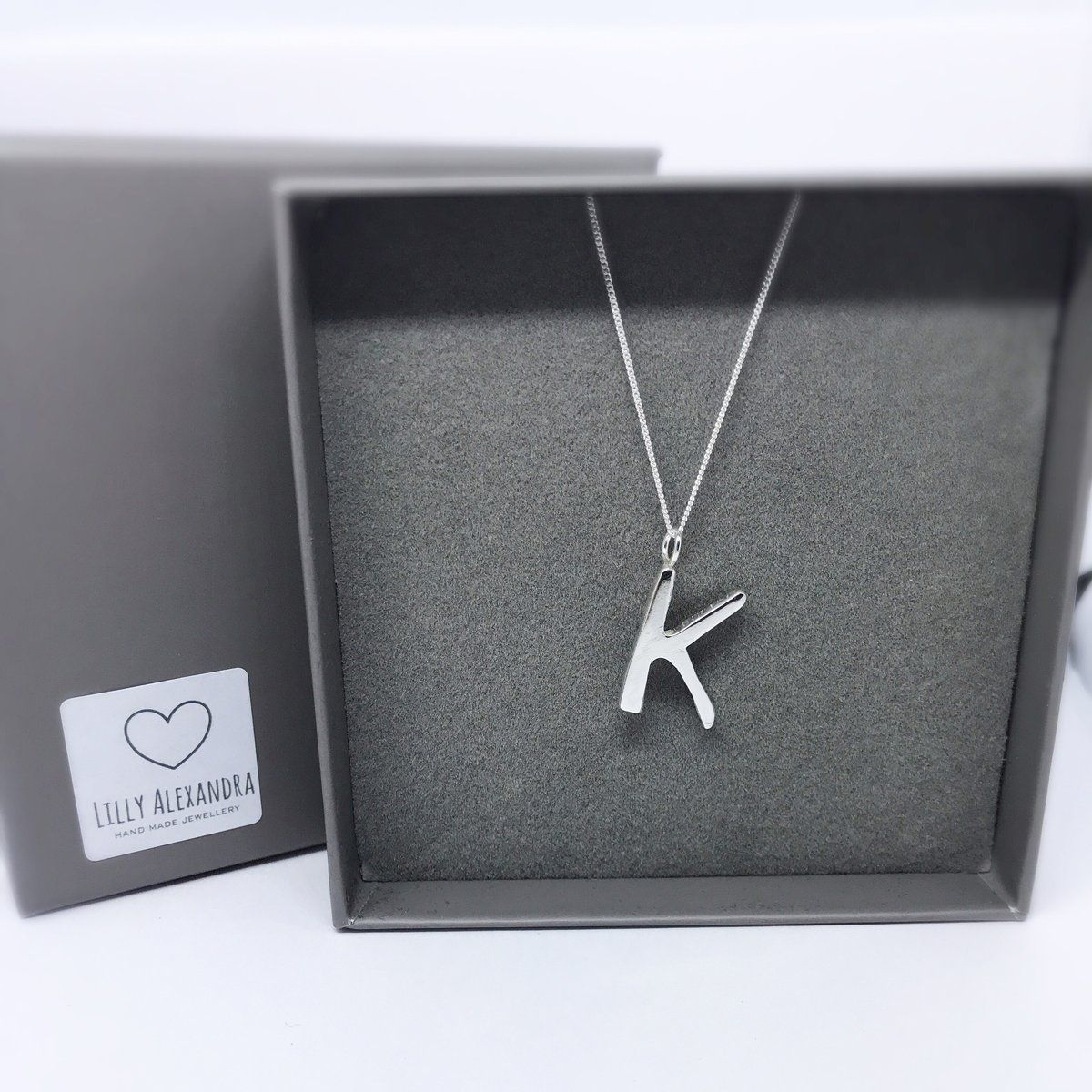 Sterling Silver Initial J Pendant on a Sterling Silver Cable Snake or Ball Chain Necklace