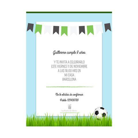 Invitación Online Personalizada Futbol Invitaciones De