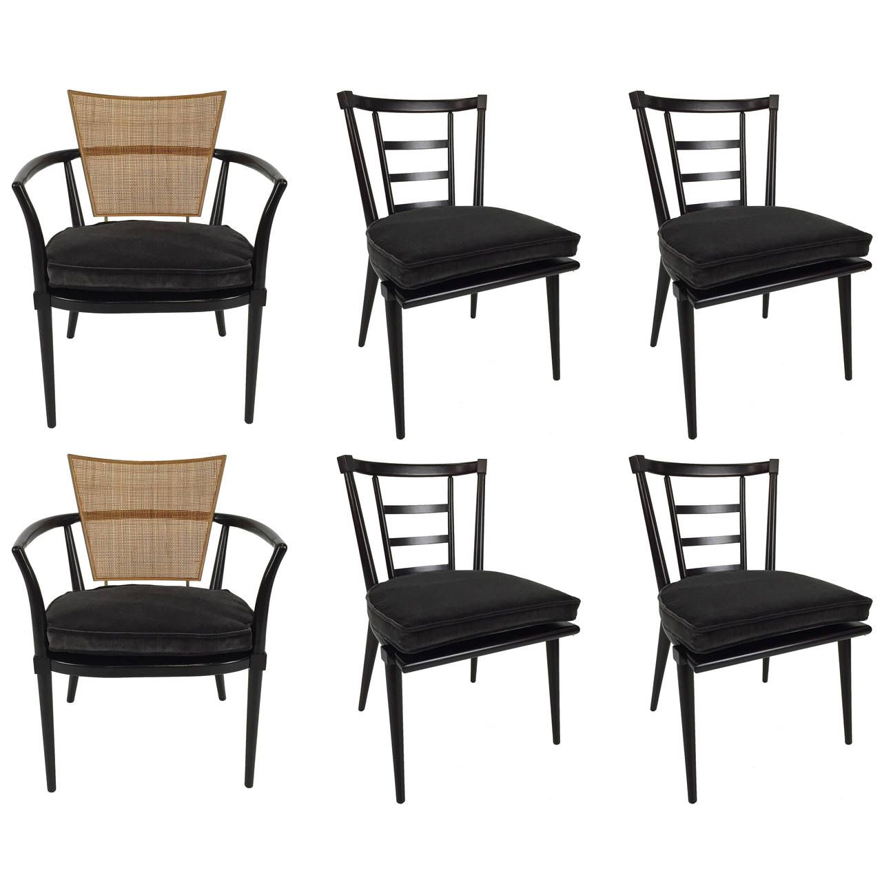 set of six dining chairs by bert england for johnson furniture - Set Of Six Dining Room Chairs