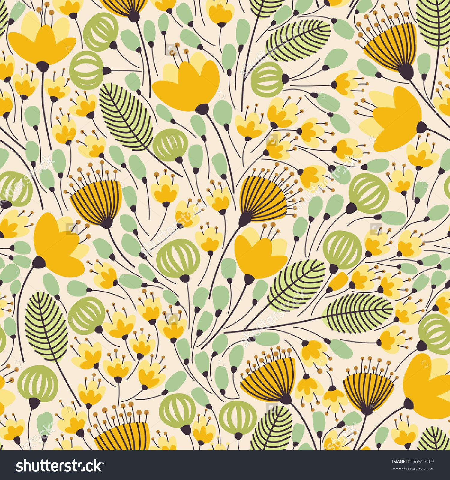 Elegant Seamless Pattern With Yellow Flowers, Vector