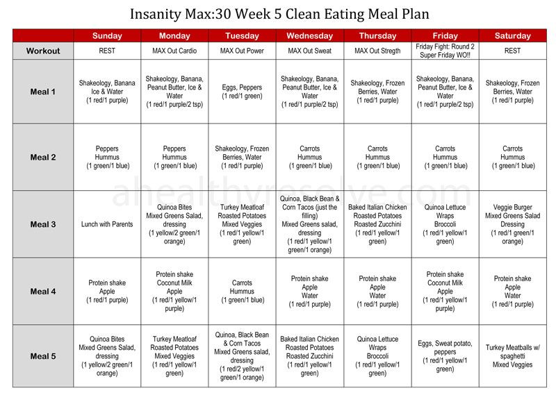 Tackling Food Demons \ Insanity Max30 Clean Eating Meal Plan A - meal plan