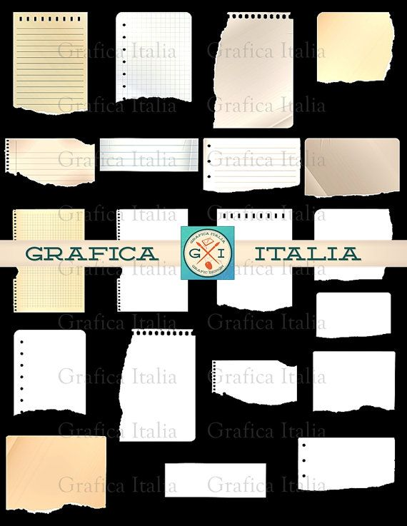 Torn Paper Sheets Clip Art - Graphic Design Elements - Notebook - notebook paper download