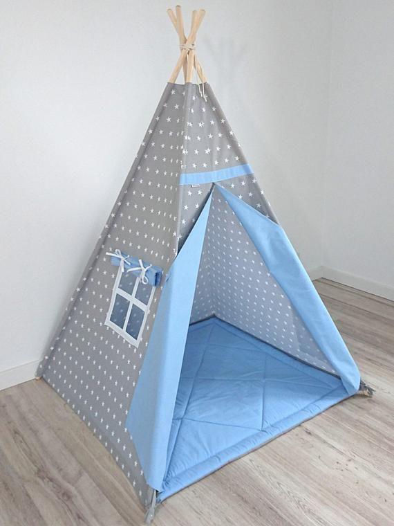 Teepee, Playtent, Play Teepee, Childrens Teepee, Tent for Boys, Tee pee, Kids tent, Tipi, Teepee tent, wigwam, white stars on grey