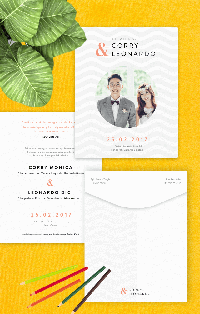 Horizontal Soft Waves Wedding Invitation Sederhana Elegan