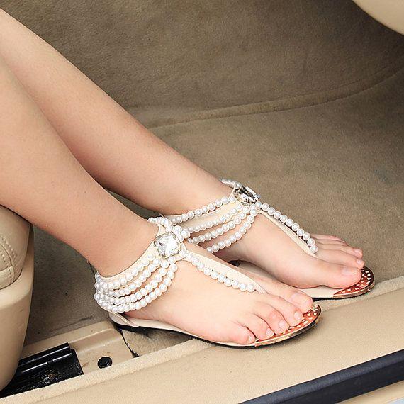 Handmade Bridal Shoes Comfortable Flats Sandal Swarovski Crystal