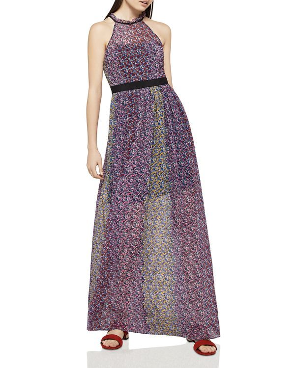 fec61f93f365c BCBGeneration Color-Block Floral Print Maxi Dress