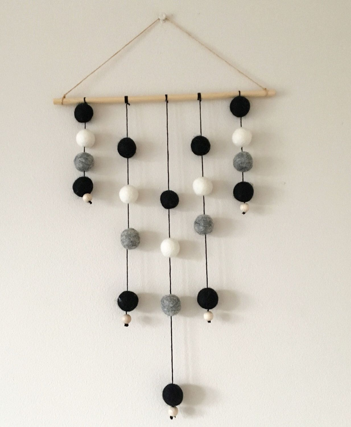 A personal favourite from my Etsy shop https://www.etsy.com/uk/listing/471997976/felt-ball-wall-hanging-nursery-mobile