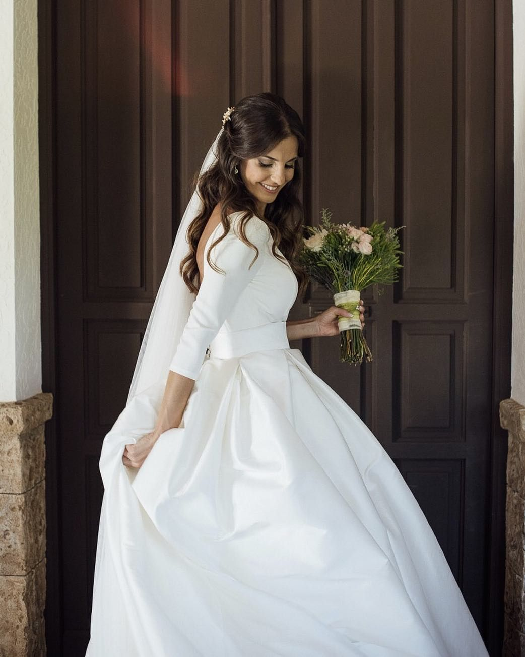 Couture backless ball gown wedding dress 2018 puffy soft satin couture backless ball gown wedding dress 2018 puffy soft satin long sleeves bridal gowns with pockets ombrellifo Image collections