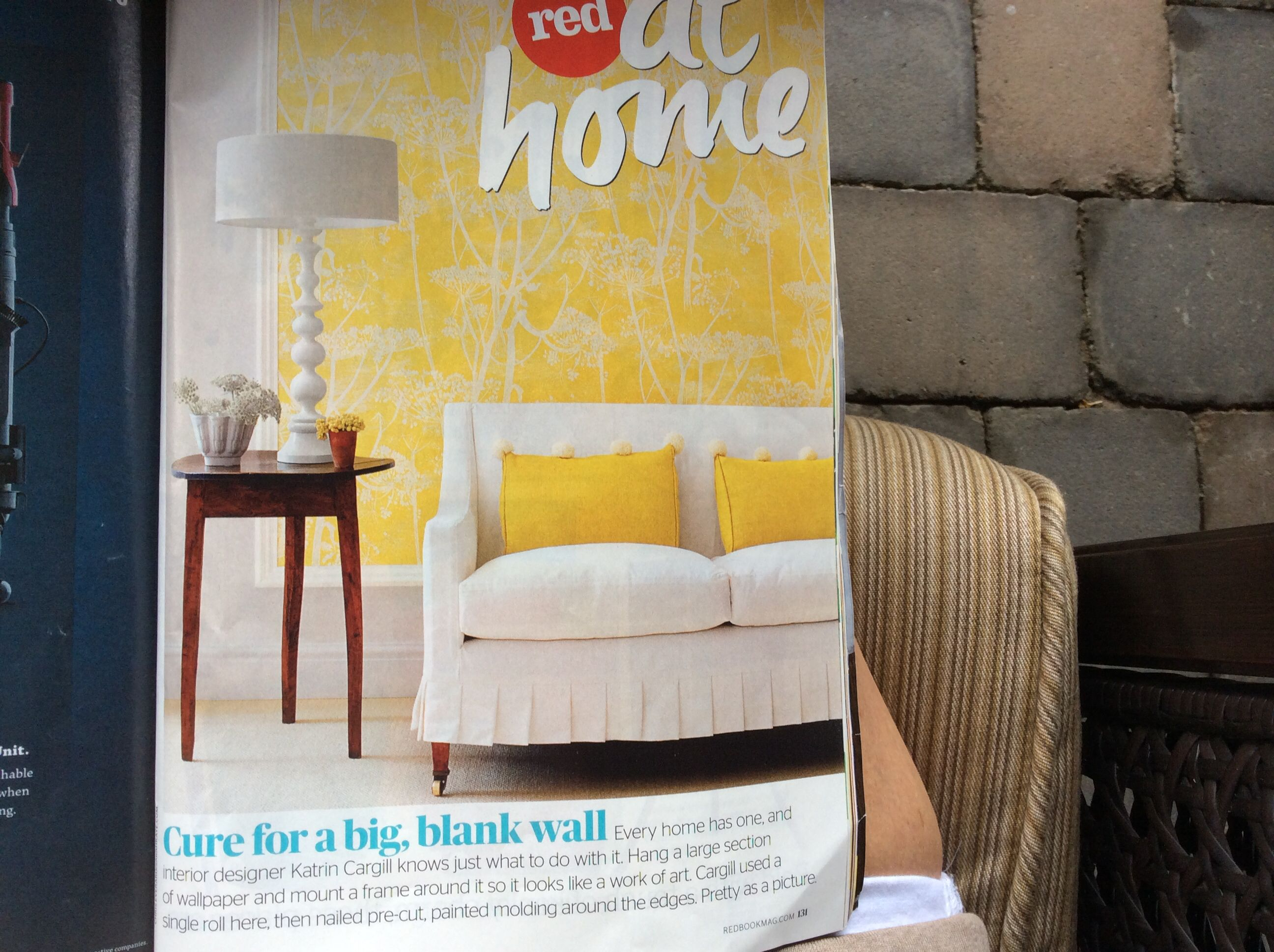 Cool wallpaper and frame idea for a blank wall.  Redbook mag. August 2014