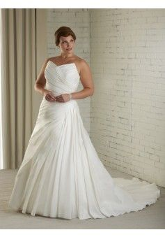 A-line V-neck Sleeveless Satin Wedding Dress #USAHS352
