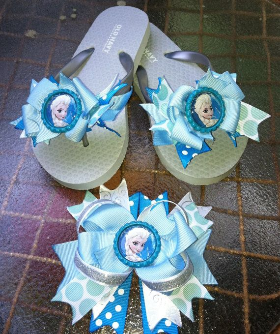 90d95cbadd2ef8 Frozen Elsa Flip Flops and matching hair bow-made to order on Etsy ...