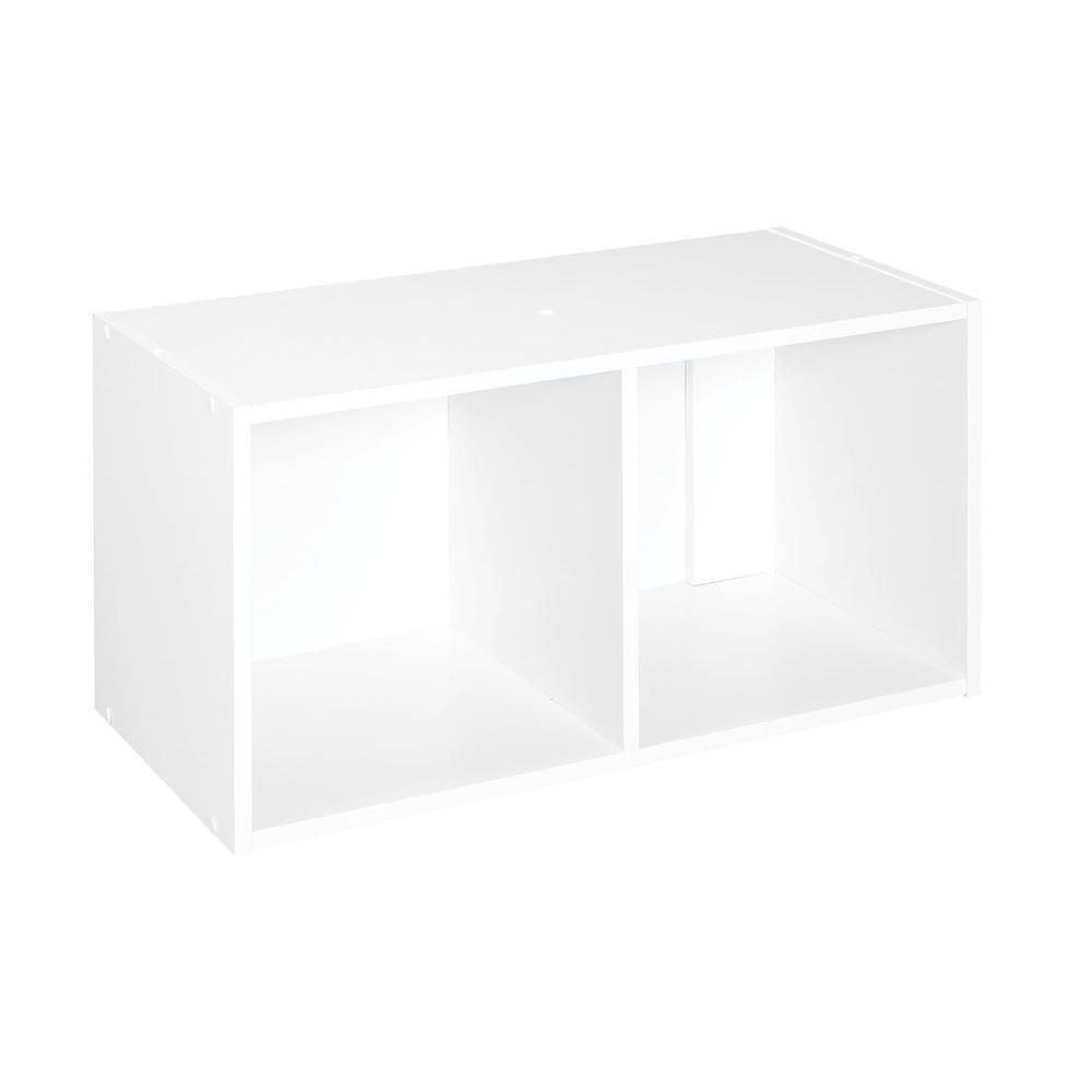 ClosetMaid 24 in. W x 12 in. H White Stackable 2-Cube Organizer ...