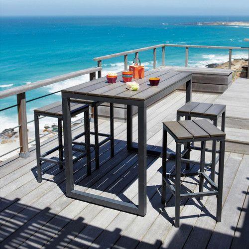 Table de jardin haute en aluminium anthracite L 128 cm - 199,90 € + ...