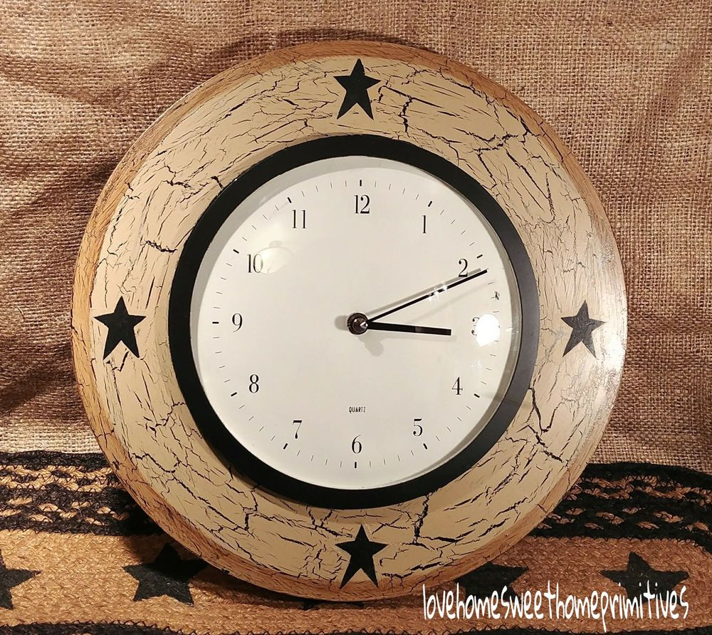 Pin By Gayetta Patrick On My Ebay Items Lovehomesweethome Country Wall Clock Wood Wall Clock Wall Clock
