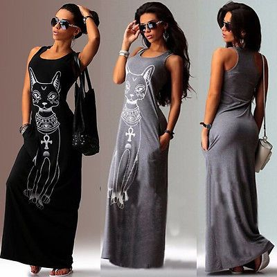 New Women Summer Sexy Casual Boho Long Maxi Party Beach Dress Vest ...