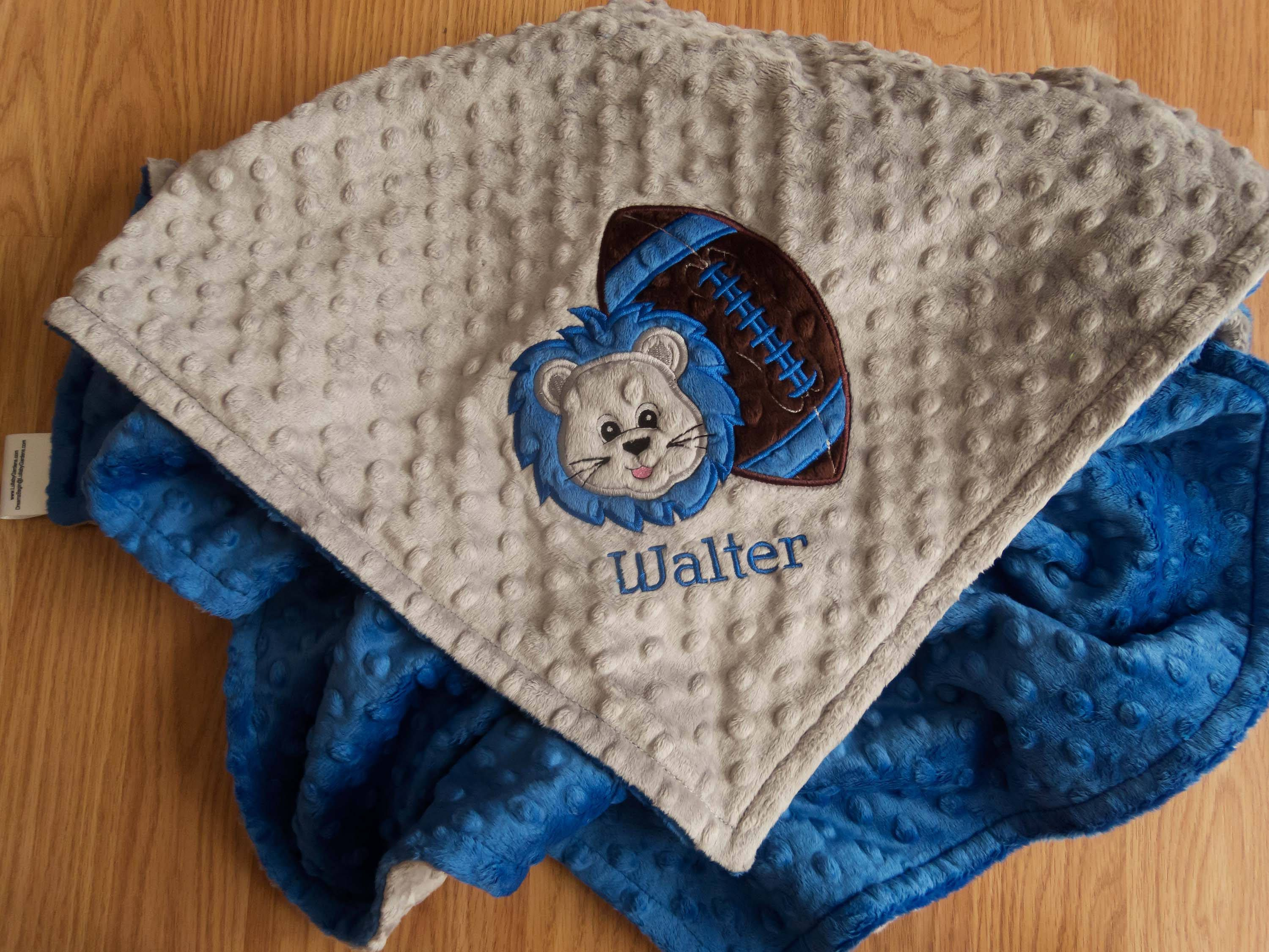 Personalized minky baby blanket personalized baby gift lion personalized minky baby blanket personalized baby gift lion football appliqued minky blanket minky negle Images