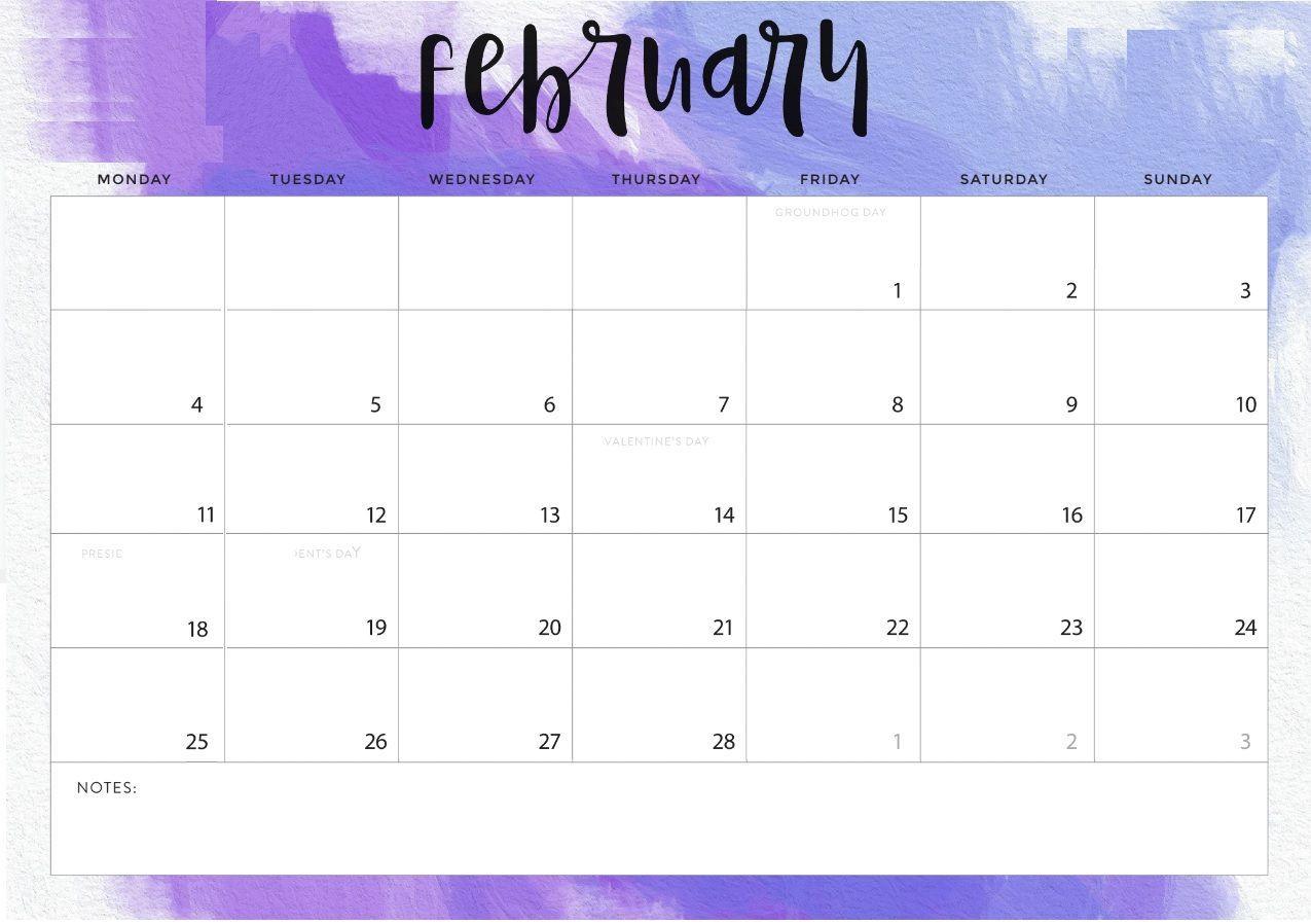 Purple February 2019 Calendar Monthly Desk Calendar For February 2019 #february #february2019